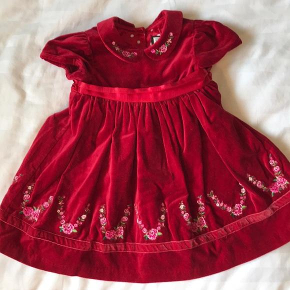 The Children's Place red velvet embroidered dress